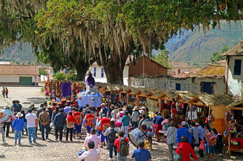 Parade of the Ascension Day of San Pedro de Apostol de Andahuaylillas Church, Andahuaylillas Town, Cusco Region, Peru stock images