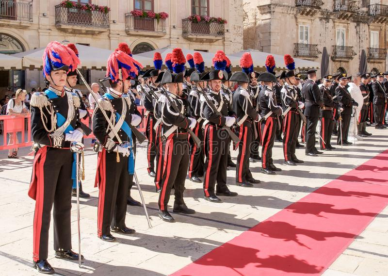 Syracuse Sicily/ Italy -June 05 2019: Parade of the carabinieri who wear the uniform and the historical hats with plume. Parade of the carabinieri who wear the royalty free stock images