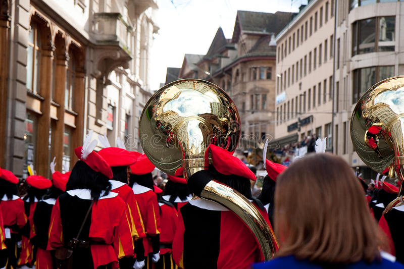 Parade, Carnaval in Bazel, Zwitserland stock foto
