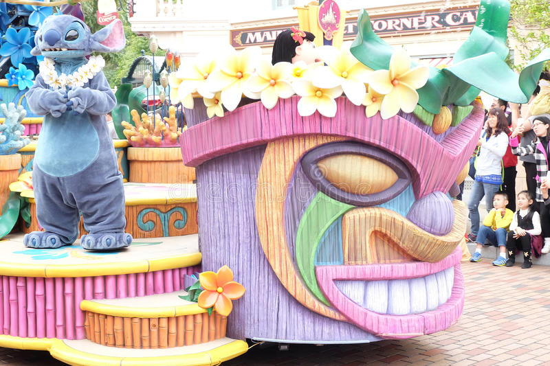 parade of cartoon character Stitch. A famous cartoon of Walt Disney, a favorite of children around the world at Hong Kong Disney royalty free stock photos