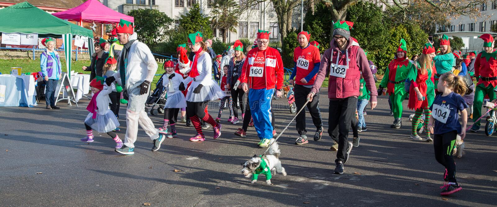 Parade of Christmas elves stock image