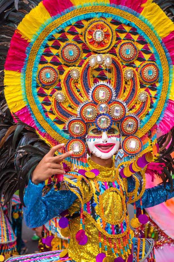 Parade of colorful smiling mask at 2018 Masskara Festival, Bacol. Od City, Philippines royalty free stock images