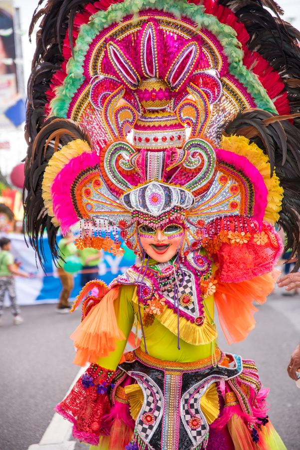 Parade of colorful smiling mask at 2018 Masskara Festival, Bacol. Od City, Philippines stock image