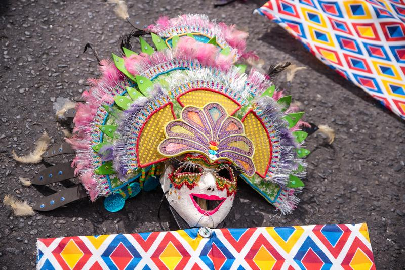 Parade of colorful smiling mask at 2018 Masskara Festival, Bacol. Od City, Philippines stock photos