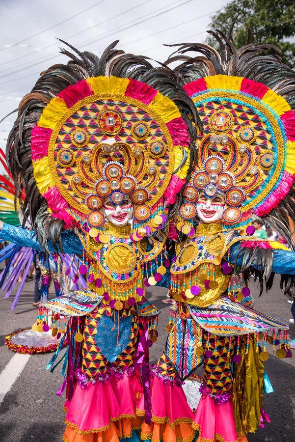 Parade of colorful smiling mask at 2018 Masskara Festival, Bacol. Od City, Philippines royalty free stock photo