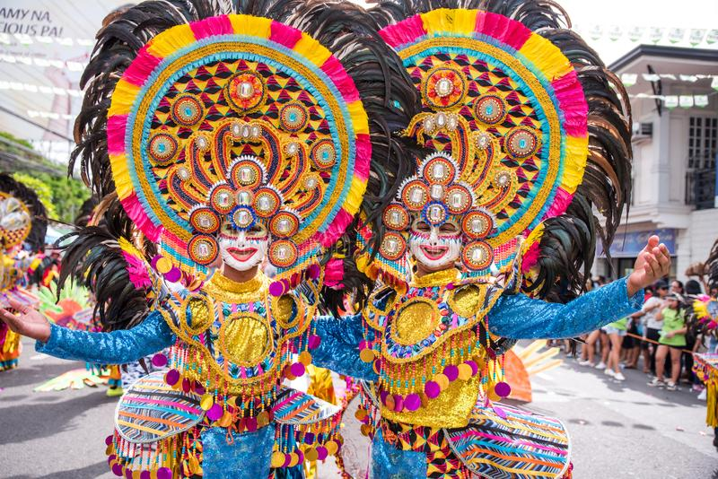 Parade of colorful smiling mask at 2018 Masskara Festival, Bacol. Od City, Philippines stock images