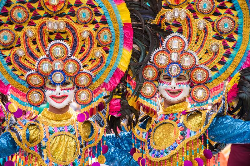 Parade of colorful smiling mask at 2018 Masskara Festival, Bacol. Od City, Philippines royalty free stock photography