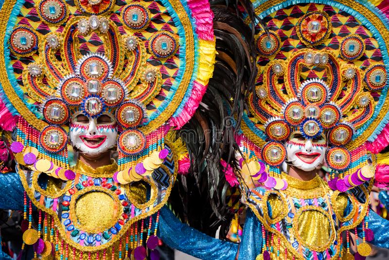 Parade of colorful smiling mask at 2018 Masskara Festival, Bacol. Od City, Philippines royalty free stock image
