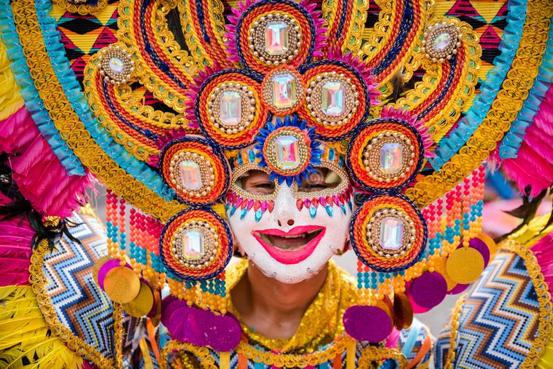 Parade of colorful smiling mask at 2018 Masskara Festival, Bacol. Od City, Philippines stock photography