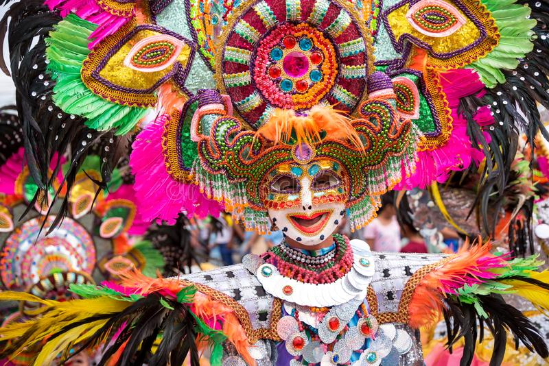 Parade of colorful smiling mask at 2018 Masskara Festival, Bacol. Od City, Philippines royalty free stock photos