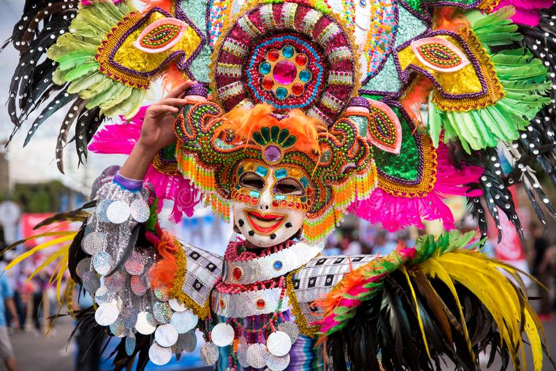 Parade of colorful smiling mask at 2018 Masskara Festival, Bacol. Od City, Philippines stock photo