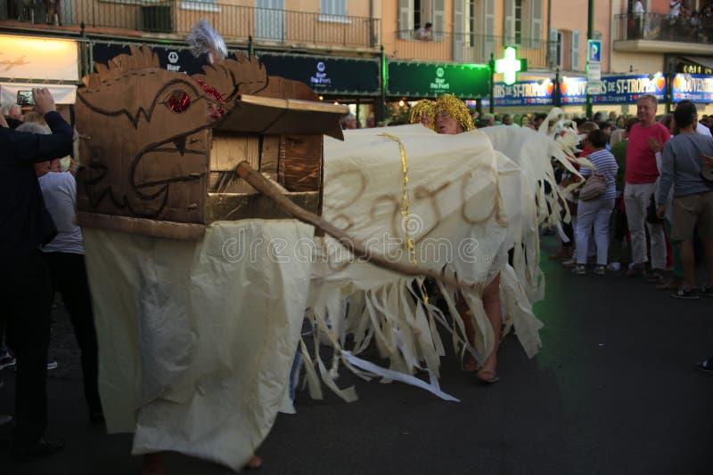 Parade in de haven van Saint Tropez stock foto's