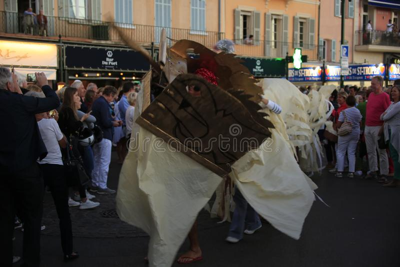 Parade in de haven van Saint Tropez royalty-vrije stock afbeelding
