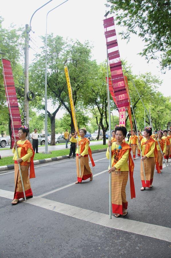 Parade der Herstellung der traditionellen Übertragungsgüte in Thailand lizenzfreies stockfoto