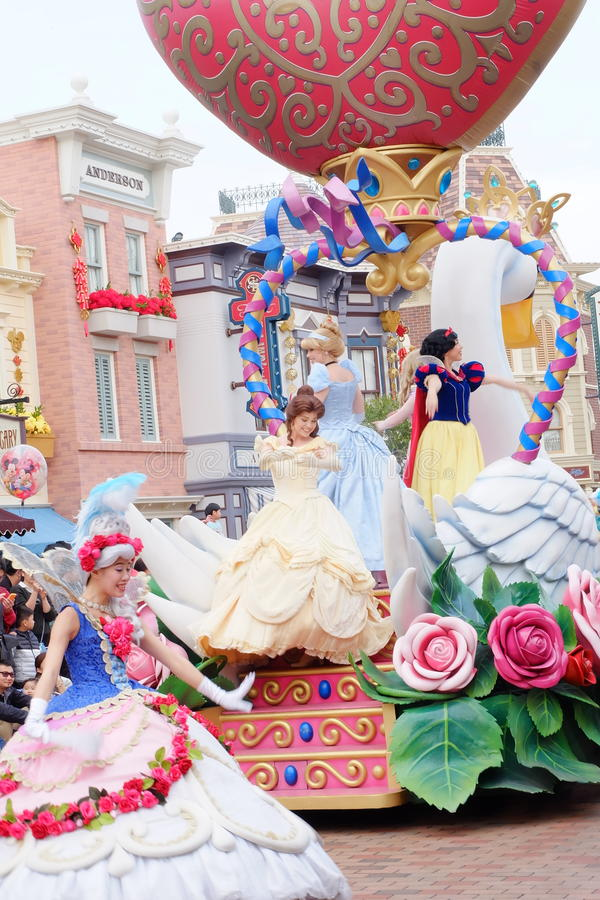 This is a parade of fancy about the character of the famous walt disney princess at Hong Kong Disneyland royalty free stock images