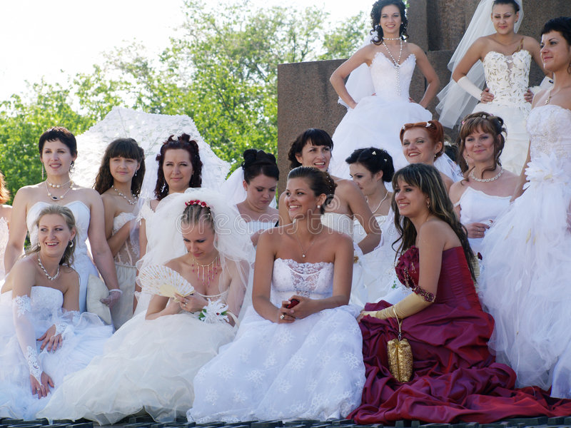 Parade of fiancees is in Kharkov (Ukraine). The first parade of fiancees is in Kharkov (Ukraine). Character of domestic way of life. Possibility for every woman royalty free stock photography
