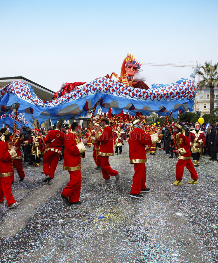 Parade float with Chinese dragon stock image