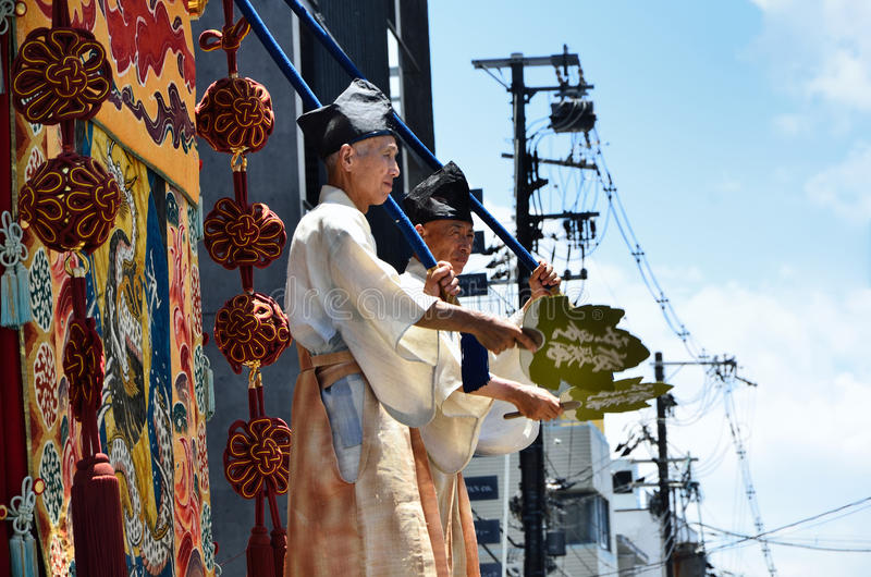 Parade of Gion festival, Kyoto Japan in July. The annual festival of Gion Matsuri of Kyoto in summer, many floats are decorated with historical treasures royalty free stock image
