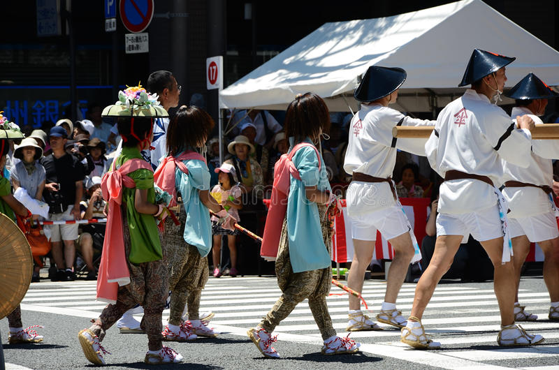 Parade of Gion festival, Kyoto Japan. The parade of Gion Matsuri festival at hot summer day in Kyoto, every float has decorated with historical treasures and art royalty free stock photo