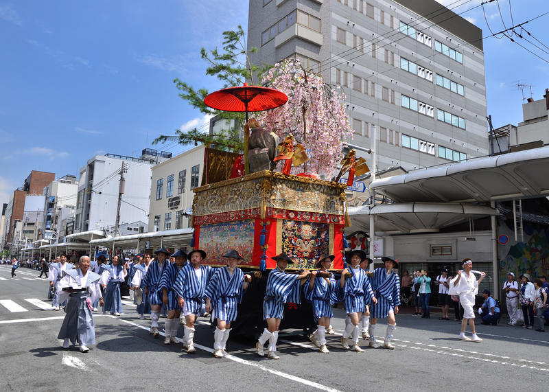 Parade of Gion festival, Kyoto Japan in summer. stock photos