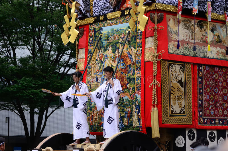 Parade of Gion festival, Kyoto Japan. Traditional event of Gion Matsuri festival in Kyoto, every float is decorated with antique works stock image