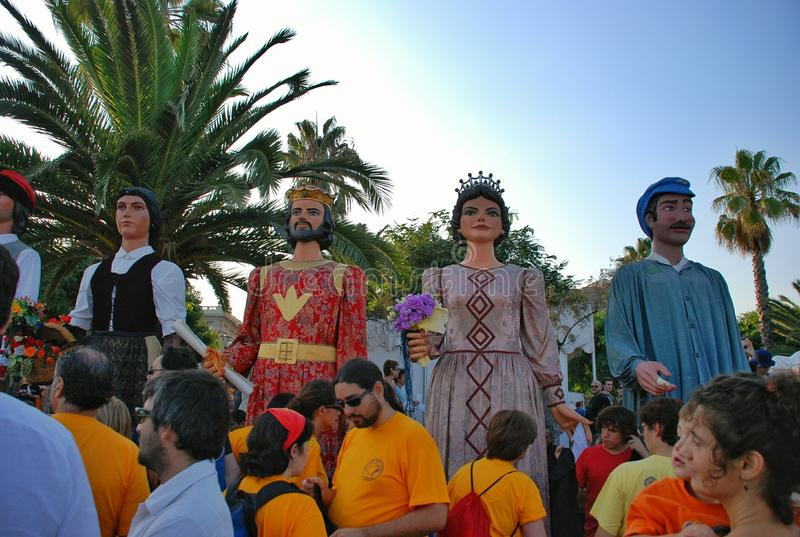 Parade of huge dolls. Holiday La Merce on September 22-25. A holiday in honor of the patroness of Barcelona – the Saint maiden Mercedes. Along with stock image