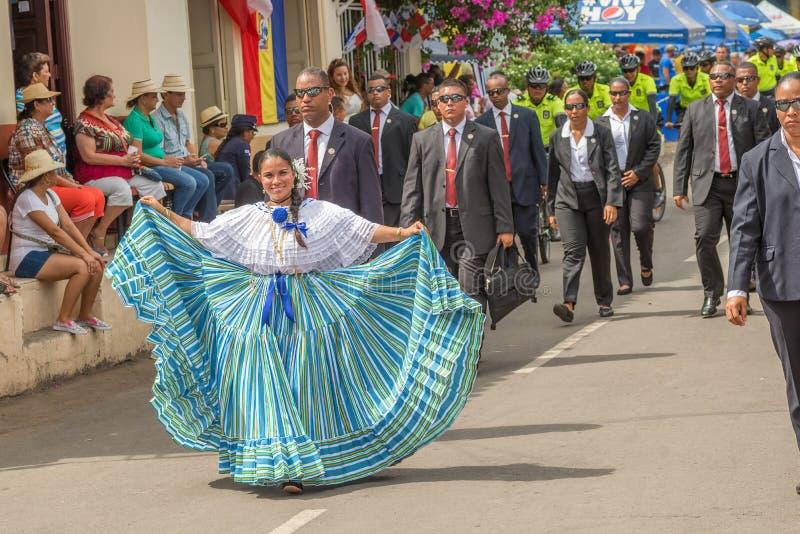 Parade in La Villa in Panama. Los Santos, Panama - November 10, 2015: Girl in traditional dress in the parade in La Villa. Festival and parade in La Villa royalty free stock photos