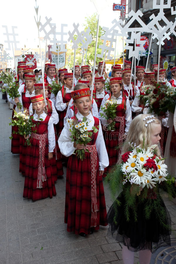 Parade Of Latvian Youth Song And Dance Festival Editorial Photography