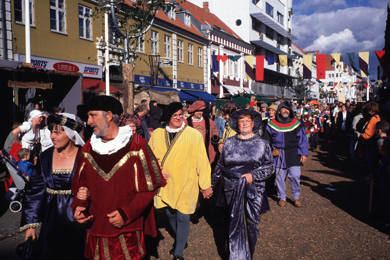 Medieval Festival. Parade of local participants in the medieval in Horsens, Denmark royalty free stock images