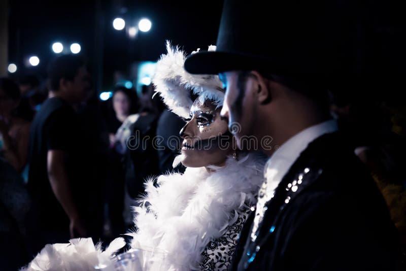 Parade met gekostumeerde caterina voor dia DE los muertos, Merida, Mexico royalty-vrije stock fotografie