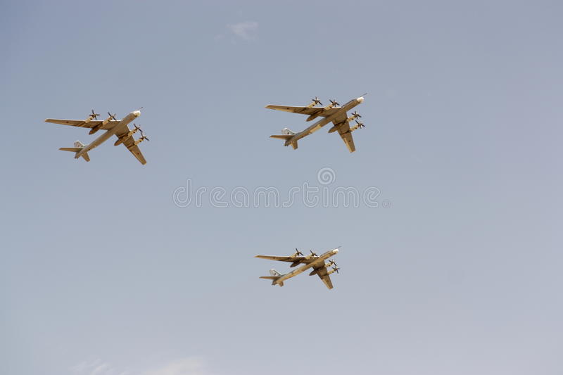 Parade of military aircraft in Moscow May, 9 2010 stock photography