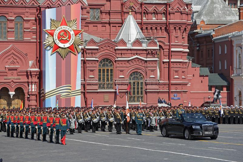 Parade. MOSCOW, RUSSIA - MAY 07, 2019: Rehearsal of the Victory Day celebration WWII. Commander-in-chief of the Land forces of the Russia army General Oleg royalty free stock photography
