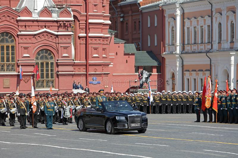 Parade. MOSCOW, RUSSIA - MAY 07, 2019: Rehearsal of the Victory Day celebration WWII. Commander-in-chief of the Land forces of the Russia army General Oleg stock photos