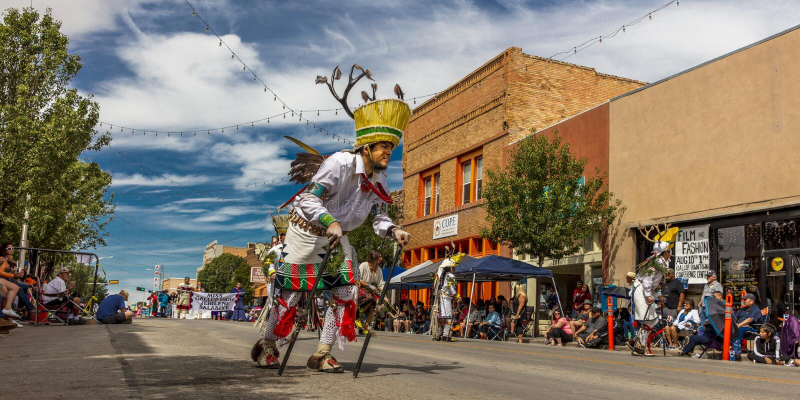 Parade of Native Americans 98th Gallup Inter-tribal Indian Ceremonial, New Mexico. AUGUST 10, 2019 - GALLUP NEW MEXICO, USA - Portraits of Native American with stock images