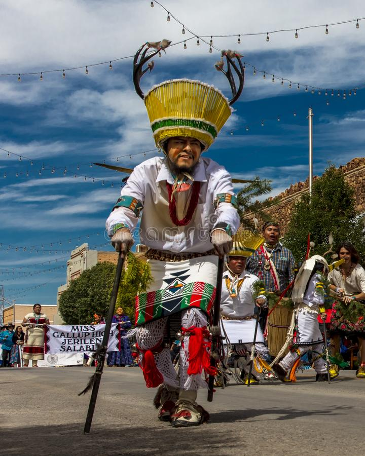 Parade of Native Americans 98th Gallup Inter-tribal Indian Ceremonial, New Mexico. AUGUST 10, 2019 - GALLUP NEW MEXICO, USA - Portraits of Native American with stock photography