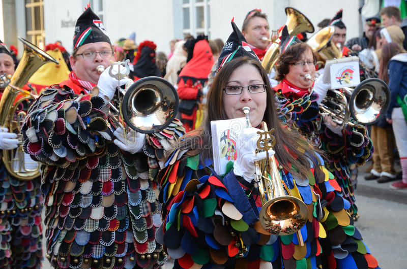 Parade of orchestras at the German carnival Fastnacht royalty free stock photo