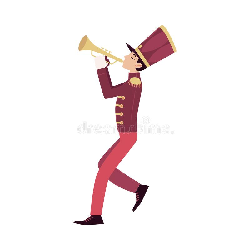 Free Parade Participant, Young Trumpeter Plays Trumpet. Stock Photo - 140158470