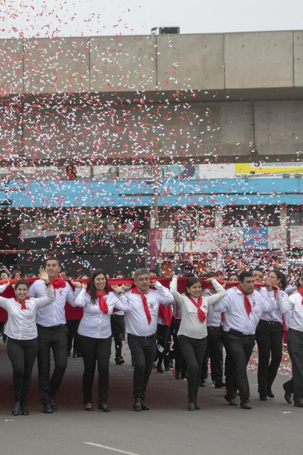 Parade of people for the reason of Peruvian Independence Day royalty free stock photography