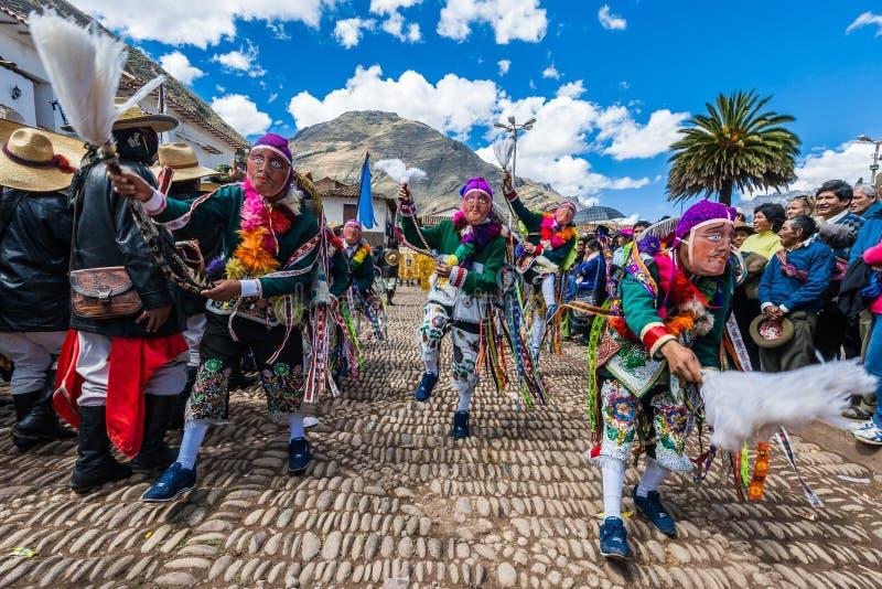 Parade peruanische Anden Pisac Peru Virgen Del Carmen stockbild