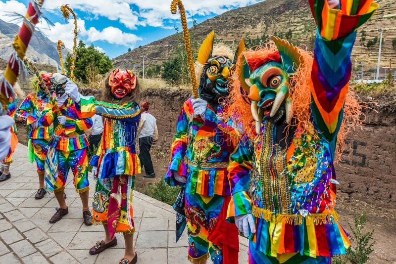 Parade peruanische Anden Pisac Peru Virgen Del Carmen stockfoto