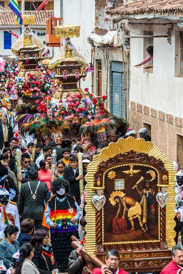 Parade peruanische Anden Pisac Peru Virgen Del Carmen stockfotografie