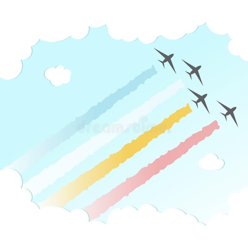 Parade Plane BackgroundJoy Peace Colourful Design Sky Vector Illustration stock illustration