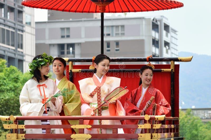 Parade of princesses of Gion Matsuri festival. Princesses of Gion Matsuri festival, dressed in authentic Kimono costume, Kyoto Japan stock photo