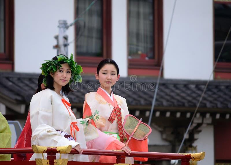 Parade of princesses of Gion Matsuri festival. Princesses of Gion Matsuri festival, dressed in authentic Kimono costume, Kyoto Japan royalty free stock photography