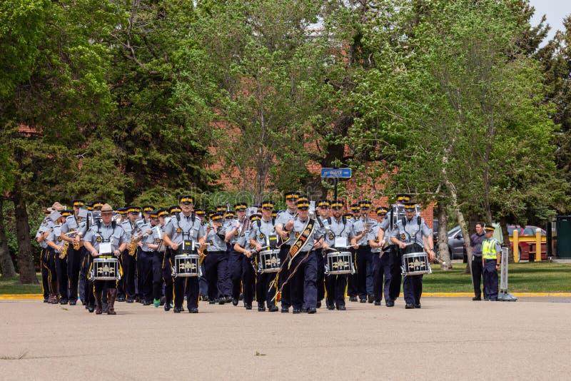 Parade of RCMP in Regina Canada. The Parade of RCMP in Regina Canada stock photos