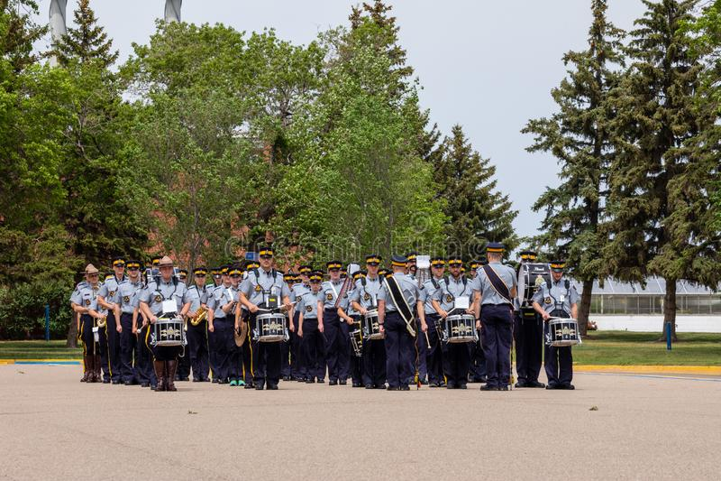 Parade of RCMP in Regina Canada. The Parade of RCMP in Regina Canada royalty free stock images