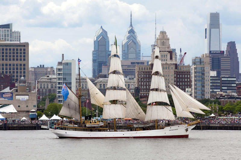 Parade of Sails. Picton Castle, a 179' long, 284-ton, three-masted barque sails in front of the Independence Seaport Museum (formerly the Philadelphia royalty free stock images