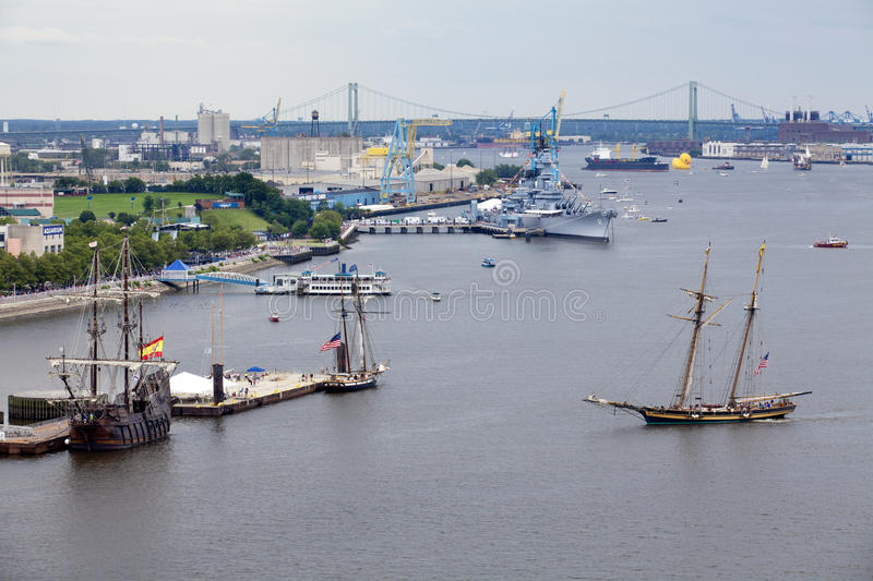 Parade of Sails. Pride of Baltimore II, a 157' topsail schooner, the Picton Castle, a 179' long, 284-ton, three-masted barque sails and Fireboats royalty free stock image