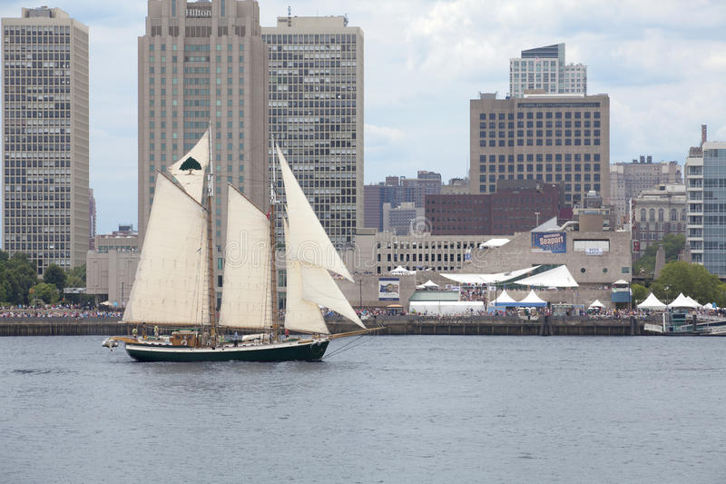 Parade of Sails. Tree of Life, a 91' long gaff-rigged schooner sails in front of the Independence Seaport Museum (formerly the Philadelphia Maritime royalty free stock photo