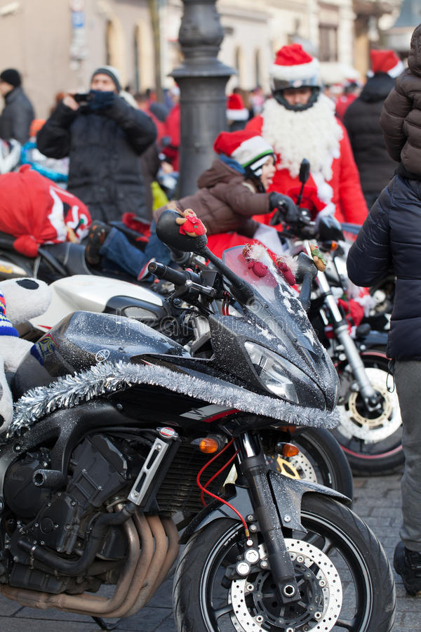 Download The Parade Of Santa Clauses On Motorcycles Around The Main Market Square In Cracow Editorial Photo - Image: 35854446